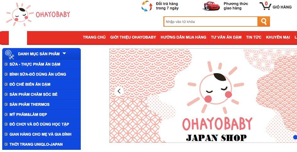 Ohayo bayby - website bán thực phẩm dinh dưỡng và ăn dặm cho bé