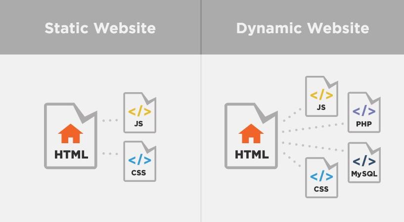 Sự khác biệt về tính năng giữa website động và website tĩnh