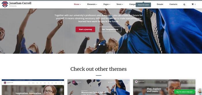 Website giáo dục trực tuyến được xây dựng trên nền tảng Bootstrap