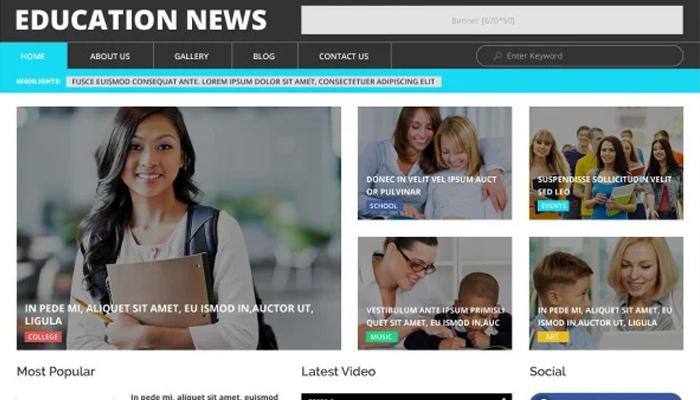 Mẫu giao diện cho website tin tức giáo dục - Education News